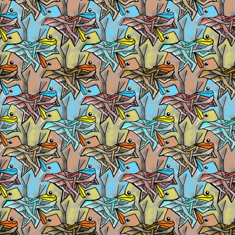 Baby birds in nests fabric by eclectic_house on Spoonflower - custom fabric