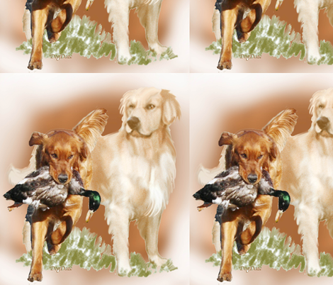 hunting_golden_retriever_with_bird fabric by dogdaze_ on Spoonflower - custom fabric