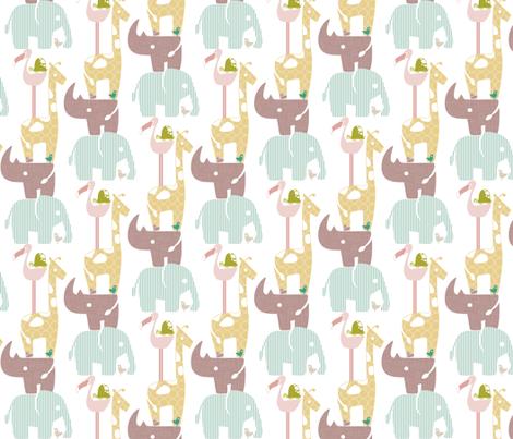 Spring Safari Tower (Rhino) fabric by ttoz on Spoonflower - custom fabric