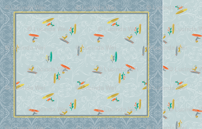 Hang 10: Surfer Dogs Cheater Quilt