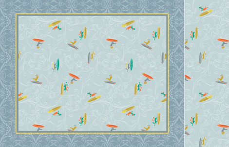 Hang 10: Surfer Dogs Cheater Quilt fabric by lucindawei on Spoonflower - custom fabric
