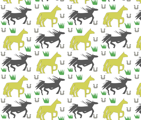 Anita's Horses kids contest entry fabric by aninipanini on Spoonflower - custom fabric