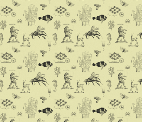 vintages cream fabric by ravynka on Spoonflower - custom fabric