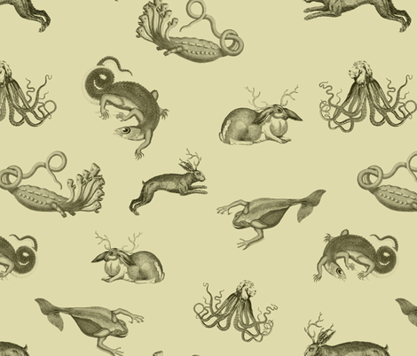 vintage ephemera zoo cream fabric by ravynka on Spoonflower - custom fabric