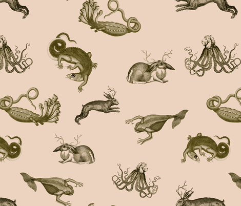 vintage_ephemera_zoo_pink fabric by ravynka on Spoonflower - custom fabric