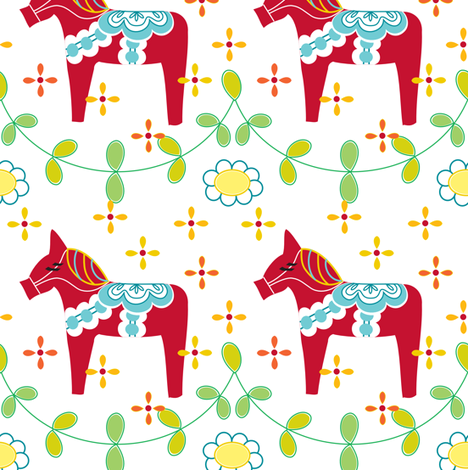 Red Dala with Branches fabric by carinaenvoldsenharris on Spoonflower - custom fabric