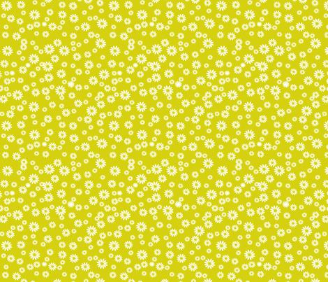 Tiny Daisies on Green fabric by carinaenvoldsenharris on Spoonflower - custom fabric