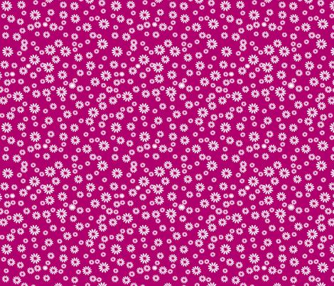 Tiny Daisies on Dark Pink fabric by carinaenvoldsenharris on Spoonflower - custom fabric