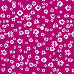 Tiny Daisies on Dark Pink