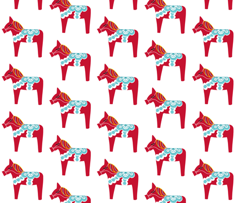 Red Dala on White fabric by carinaenvoldsenharris on Spoonflower - custom fabric