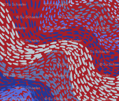 Bat paths in blues on red