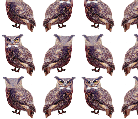 Little Tuffed Ear Owls fabric by nezumiworld on Spoonflower - custom fabric