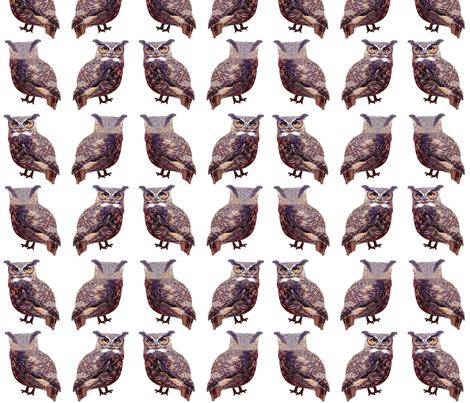 Mini Tuffed Ear Owls fabric by nezumiworld on Spoonflower - custom fabric