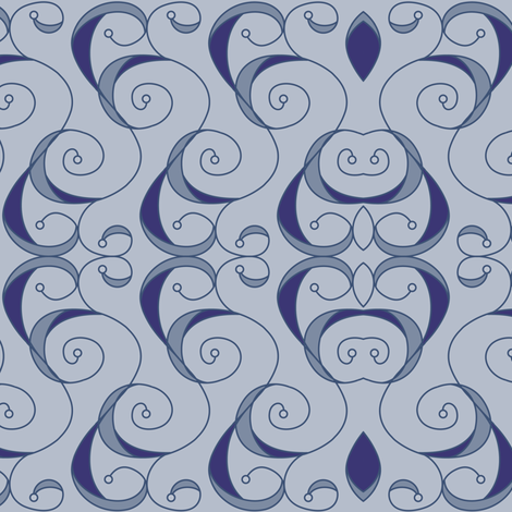 Baroque Scrolls - Powder Blue fabric by strive on Spoonflower - custom fabric