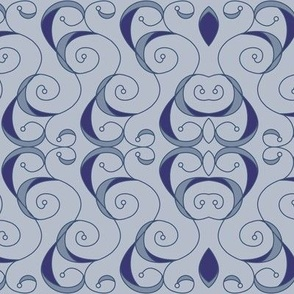Baroque Scrolls - Powder Blue