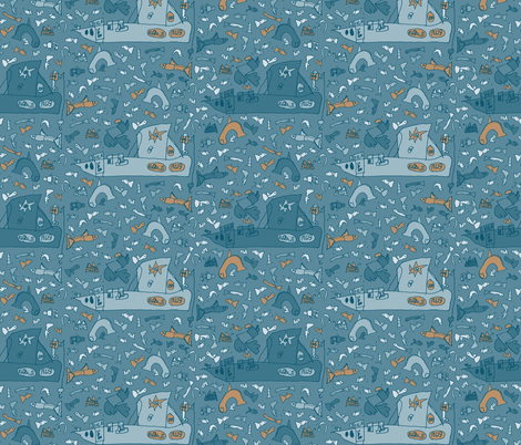 Fishing Boat by Tarmo fabric by ruusulampi on Spoonflower - custom fabric