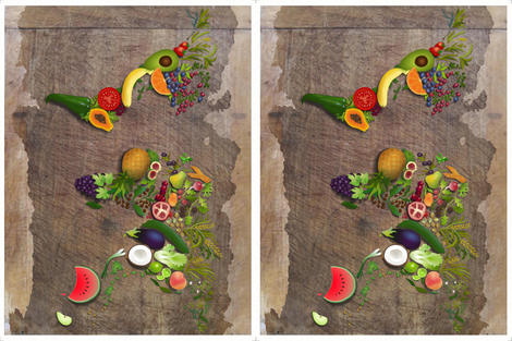 Placemats: Around the World in Fruit & Veg fabric by forest&sea on Spoonflower - custom fabric