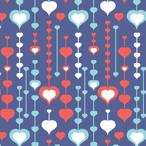 Falling In Love - Retro Valentine's Day Hearts Purple fabric by heatherdutton on Spoonflower - custom fabric
