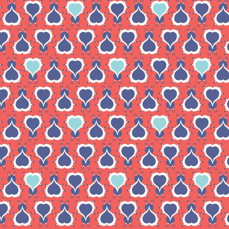 Love Bug - Retro Valentine's Day Ladybugs Red fabric by heatherdutton on Spoonflower - custom fabric