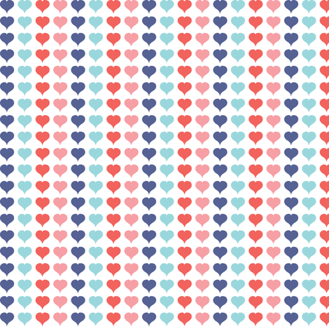 Love Struck - Valentine's Day Heart Stripe Pink Red Aqua fabric by heatherdutton on Spoonflower - custom fabric