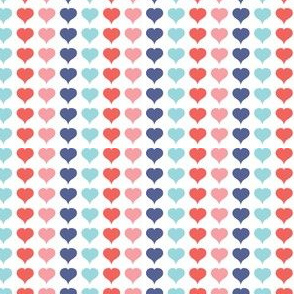 Love Struck - Valentine's Day Heart Stripe Pink Red Aqua