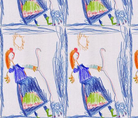 One Sheep Shepherdess  fabric by lali's_little_world on Spoonflower - custom fabric