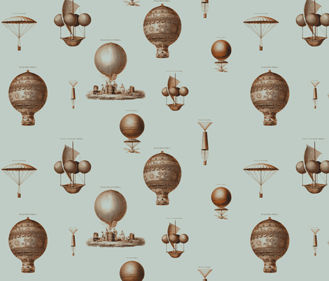vintage hot air baloons rust and steel fabric by ravynka on Spoonflower - custom fabric