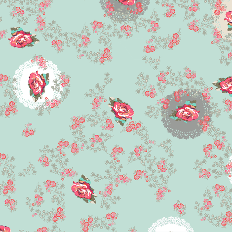 Doily roses sage fabric by katarina on Spoonflower - custom fabric