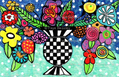 Black & White Vase Of Flowers