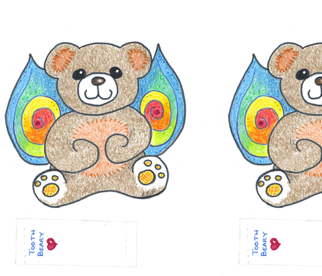 Rainbow Wing Tooth Beary fabric by lorigrace on Spoonflower - custom fabric