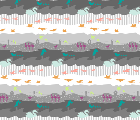 bewinged gray fabric by mrshervi on Spoonflower - custom fabric