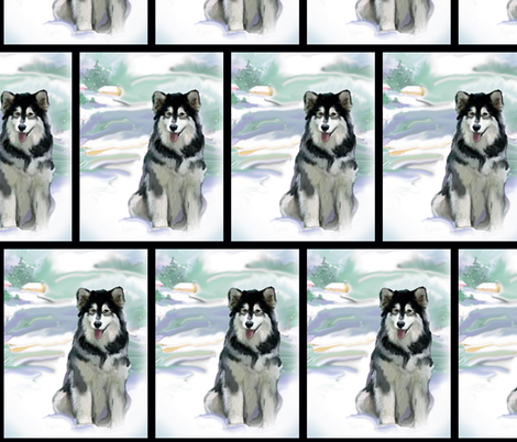 Alaskan Malamute In the Snow fabric by dogdaze_ on Spoonflower - custom fabric