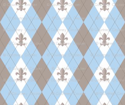 Argyle in Paris Blue/Taupe