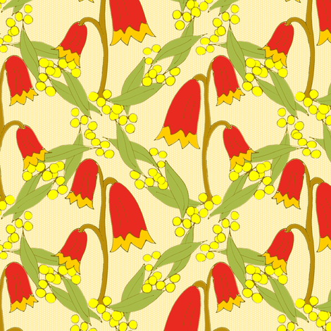 Christmas Bells and Golden Wattle - Natural Colours  fabric by rhondadesigns on Spoonflower - custom fabric