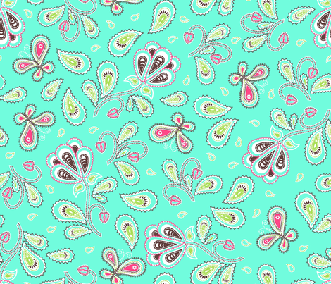 Paisley_garden_aqua_choc fabric by cjldesigns on Spoonflower - custom fabric