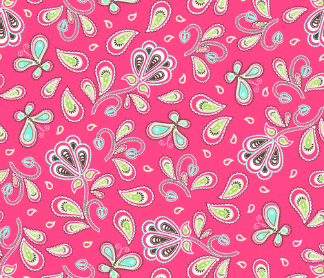 paisley_garden_pink_choc fabric by cjldesigns on Spoonflower - custom fabric