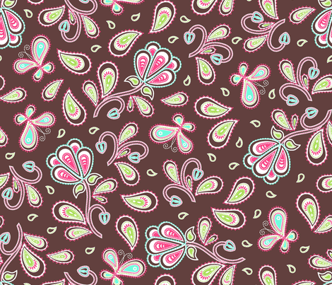 Paisley_garden_chocolate fabric by cjldesigns on Spoonflower - custom fabric