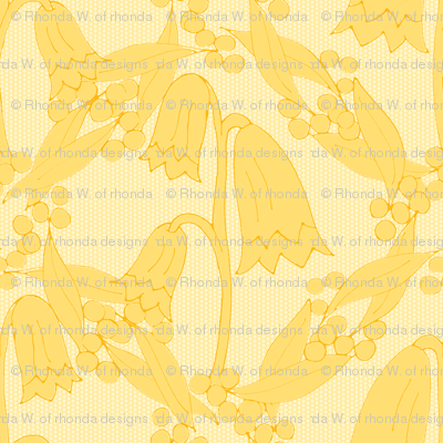Christmas Bells and Golden Wattle - Silhouettes in Tonal Golds.