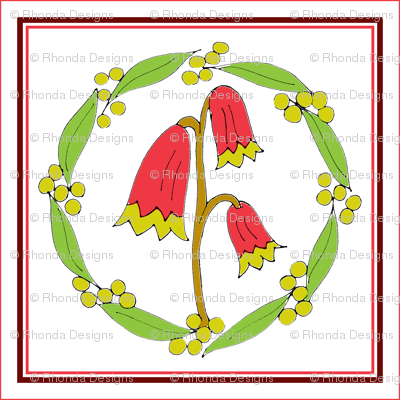 Christmas Bells and Golden Wattle Wreath Panels with Red Border.