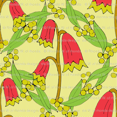 Christmas Bells and Golden Wattle on Chartreuse Dots.