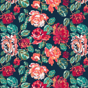 Cross roses on navy