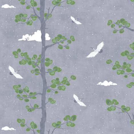 Pines & Cranes - Day fabric by forest&sea on Spoonflower - custom fabric