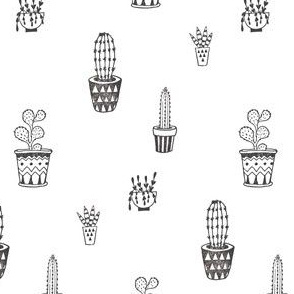 Cactus Pots in Black and White | Block Printed Cacti Succulents Southwest Plant Pots Garden Desert Summer Prints