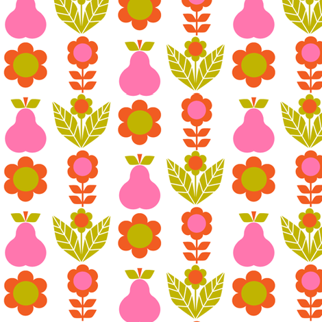 pear_flowers pink-ch-ch fabric by aliceapple on Spoonflower - custom fabric