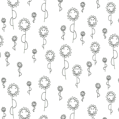 Tiffany's Sunflower Smileys fabric by trishboese on Spoonflower - custom fabric