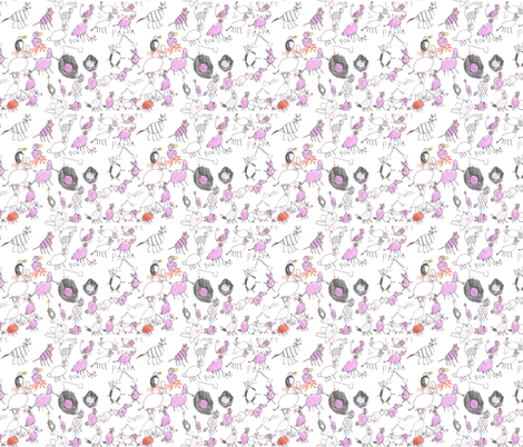 Pink Animals by Eislinn, age 7 fabric by eislinn on Spoonflower - custom fabric