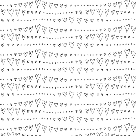 Hearts and Dots in a Wavy Stripe fabric by trishboese on Spoonflower - custom fabric