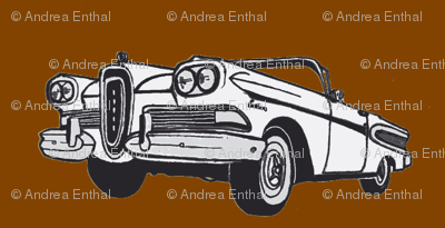 White 1958 Edsel Citation convertible on brown background