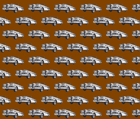 White 1958 Edsel Citation convertible on brown background fabric by edsel2084 on Spoonflower - custom fabric