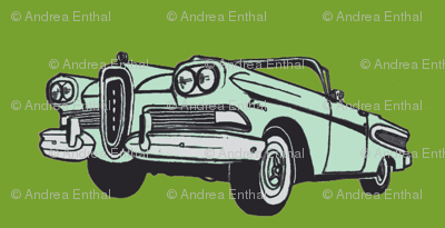 mint green 1958 Edsel Citation convertible on leaf green background